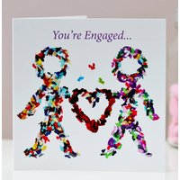 Butterfly Engagement Card, Happy Couple Card