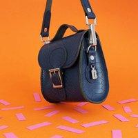 Leather Mini Crossbody Handbag, Forest Green/Green/Sand