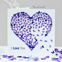I Love You Birthday Card. Purple Love Card