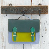 Recycled Colour Block Leather Messenger Bag