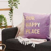 New Home Our Happy Place Velvet Cushion