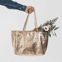 Rose Gold Lined Tote Handbag