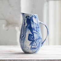 Marbled Blue And White Ceramic Water Jug, Blue
