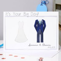 Personalised Bride And Groom Wedding Card, Black/Grey/Navy