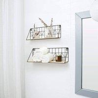 Pack Of Two Floating Display Shelves Wood Storage
