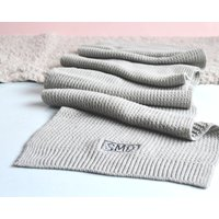 Grey Waffle Knit Embroidered Scarf