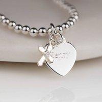 Personalised Childs Christening Cross Skinny Bracelet