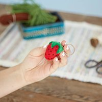 Felt Strawberry Keyring