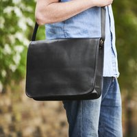 Classic Leather Messenger Bag, Gold