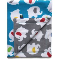 Fleece Blue Elephant Baby Blanket, Blue