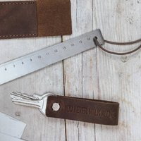 Brown Leather Loop Key Ring
