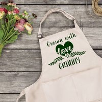 Personalised Gardening Apron, Gold/Silver/Black