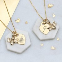 Personalised 18ct Gold Bee And Heart Necklace, Gold