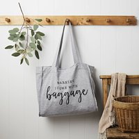 I Come With Baggage Grey Jersey Slouch Bag