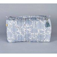 Amritsar Floral Block Printed Wash Bag In Chambray Blue