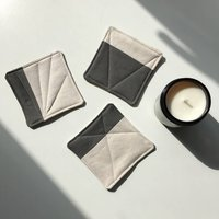 Set Of Three Zero Waste Quilted Candle Coasters