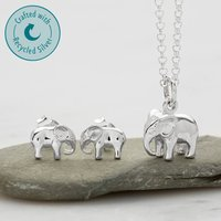 Elephant Necklace Jewellery Set With Stud Earrings