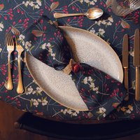 Luxury Christmas Napkin Sets Robin And Berries Navy