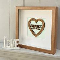 14th Ivory Wedding Anniversary Personalised Oak Heart