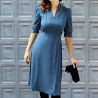 Peggy Day Dress In Petrol Blue Moss Crepe