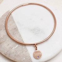 Personalised 18ct Rose Gold Vermeil Birthstone Bangle, Gold