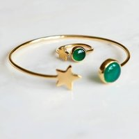 Gold Star And Emerald Birthstone Bangle And Ring Set, Gold