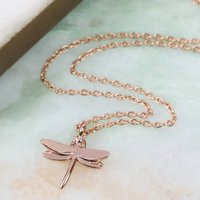 Rose Gold Dragonfly Pendant Necklace, Gold