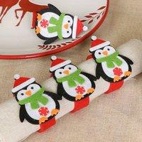 Set Of Four Christmas Penguin Felt Napkin Rings