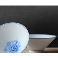 Blue White Porcelain Cup Set Of Two Peony