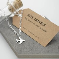 Personalised Silver Airplane Travel Bracelet, Silver