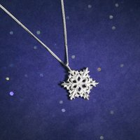 Sterling Silver Winter Snowflake Necklace, Silver