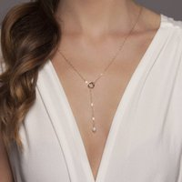 Gold Or Silver Pearl Lariat Necklace, Silver