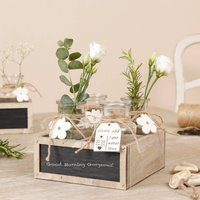 Four Farmhouse Glass Jars In A Chalkboard Box
