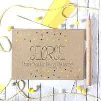 Personalised Usher Thank You Card With Gold Dots