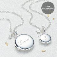 Personalised Large Sterling Silver Diamond Locket, Silver