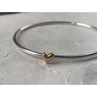 Gold And Silver Puffed Heart Bangle, Silver