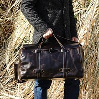 Genuine Leather Holdall With Stitched Detail