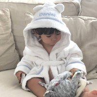 Personalised Hooded Dressing Gown Edged In Blue Gingham