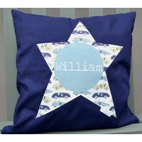 Boy's Personalised Cushion, Yellow/Navy/Red