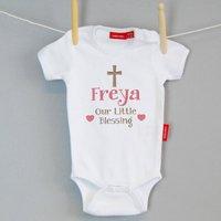 Little Blessing Christening Babygrow Or T Shirt, Aqua/Blue/Navy