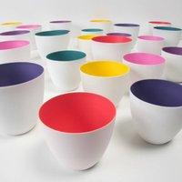 Porcelain Coloured Tea Light Holder, Purple/Pink/Yellow