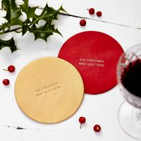 Personalised Christmas Coaster, Red/Gold/Silver