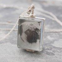 Square Silver Locket Necklace, Silver