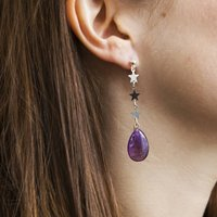 Amethyst Star Drop Earrings