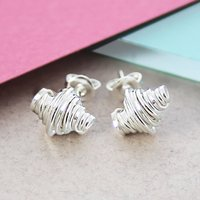 Coiled Polished Silver Stud Earrings, Silver