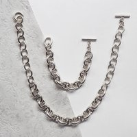 Chunky Sterling Silver Necklace And Bracelet Set, Silver