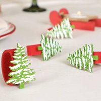 Set Of Four Snowy Christmas Tree Felt Napkin Rings