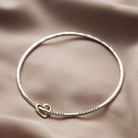 Personalised 9ct Gold Heart Bangle, Gold