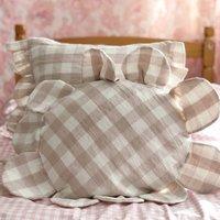 Round Daisy Pink Gingham Frill Cushion