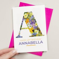 Personalised Initial Vintage Floral Birthday Card
